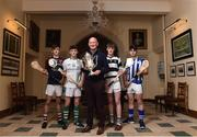 22 November 2017; Kilkenny manager Brian Cody and Regional Top Oil Manager James Fitzgerald with, from left, Ciaran Whelan of Borris Vocational School, Co. Carlow, Jack Devereux of St Peter's College, Co. Wexford, Conor Murphy of St Kieran's College, Co. Kilkenny and Dylan Morrissey of Good Counsel College, Co. Wexford in attendance at the Top Oil Leinster Senior A Hurling Championship Launch at St Kieran's College in Kilkenny. Photo by Matt Browne/Sportsfile