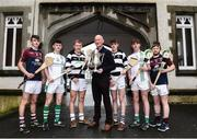22 November 2017; Kilkenny manager Brian Cody with, from left, Ciaran Whelan of Borris Vocational School, Co. Carlow, Jack Devereux of St Peter's College, Co. Wexford, Killian Egan of St Kieran's College, Co. Kilkenny, Conor Murphy of St Kieran's College, Co. Kilkenny, Cian Meyler of St Peter's College, Co. Wexford and Dylan Connors of Borris Vocational School, Co. Carlow in attendance at the Top Oil Leinster Senior A Hurling Championship Launch at St Kieran's College in Kilkenny. Photo by Matt Browne/Sportsfile