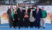 22 November 2017; In attendance as Basketball Ireland officially announce the venue for FIBA 2018 Women's European Championship for Small Countries are Cllr. Terry Shannon, Deputy Lord Mayor, with, from left, Bernard O'Byrne, Secretary General of Basketball Ireland, Danielle O'Leary of Ireland, Grainne Dwyer of Ireland, Bernard Allen, Sport Ireland Board Member, Francis O'Sullivan, Ireland Assistant Coach, Claire Rockall of Ireland, Theresa Walsh, President of Basketball Ireland, Grace O'Sullivan, Ireland Manager, John Mullins, CEO Amarenco, Patsy Ryan, General Manager of the Mardyke Arena UCC and Mark Scannell, Ireland head coach, at Mardyke Arena in Cork.
