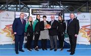 22 November 2017; In attendance as Basketball Ireland officially announce the venue for FIBA 2018 Women's European Championship for Small Countries are, from left, John Mullins, CEO Amarenco, Danielle O'Leary of Ireland, Grainne Dwyer of Ireland, Theresa Walsh, President of Basketball Ireland, Patsy Ryan, General Manager of the Mardyke Arena UCC, Claire Rockall of Ireland and Bernard Allen, Sport Ireland Board Member, at Mardyke Arena in Cork. Photo by Sam Barnes/Sportsfile