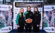 22 November 2017; In attendance as Basketball Ireland officially announce the venue for FIBA 2018 Women's European Championship for Small Countries are, from left, Danielle O'Leary, Grainne Dwyer and Claire Rockall of Ireland at Mardyke Arena in Cork. Photo by Sam Barnes/Sportsfile