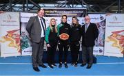 22 November 2017; In attendance as Basketball Ireland officially announce the venue for FIBA 2018 Women's European Championship for Small Countries are, from left, Bernard O'Byrne, Secretary General of Basketball Ireland, Danielle O'Leary, Grainne Dwyer of Ireland, Claire Rockall of Ireland, and Patsy Ryan, General Manager of the Mardyke Arena UCC at Mardyke Arena in Cork. Photo by Sam Barnes/Sportsfile