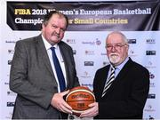 22 November 2017; In attendance as Basketball Ireland officially announce the venue for FIBA 2018 Women's European Championship for Small Countries are, from left, Bernard O'Byrne, Secretary General of Basketball Ireland and Patsy Ryan, General Manager of the Mardyke Arena UCC at Mardyke Arena in Cork. Photo by Sam Barnes/Sportsfile