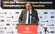 22 November 2017; Bernard O'Byrne, Secretary General of Basketball Ireland, speaking as Basketball Ireland officially announce the venue for FIBA 2018 Women's European Championship for Small Countries at Mardyke Arena in Cork. Photo by Sam Barnes/Sportsfile