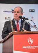 22 November 2017; Cllr. Terry Shannon, Deputy Lord Mayor, speaking as Basketball Ireland officially announce the venue for FIBA 2018 Women's European Championship for Small Countries at Mardyke Arena in Cork. Photo by Sam Barnes/Sportsfile