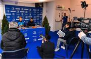 23 November 2017; Head coach Leo Cullen and captain Isa Nacewa speak to the media during a Leinster rugby press conference at RDS Arena in Dublin. Photo by Brendan Moran/Sportsfile
