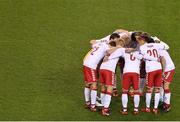 14 November 2017; The Denmark team gather in a huddle prior to the FIFA 2018 World Cup Qualifier Play-off 2nd leg match between Republic of Ireland and Denmark at Aviva Stadium in Dublin. Photo by Brendan Moran/Sportsfile