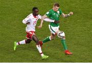 14 November 2017; James McClean of Republic of Ireland in action against Pione Sisto of Denmark during the FIFA 2018 World Cup Qualifier Play-off 2nd leg match between Republic of Ireland and Denmark at Aviva Stadium in Dublin. Photo by Brendan Moran/Sportsfile