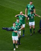 24 November 2017; Jonathan Sexton, Peter O'Mahony, Rory Best, Rob Kearney and CJ Stander during Ireland rugby captain's run at the Aviva Stadium in Dublin. Photo by Ramsey Cardy/Sportsfile