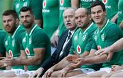 24 November 2017;  IRFU President Philip Orr, centre, with players from left, Sean O'Brien, Rob Kearney, Rory Best and Jonathan Sexton in the squad photo before Ireland rugby captain's run at the Aviva Stadium in Dublin. Photo by Piaras Ó Mídheach/Sportsfile