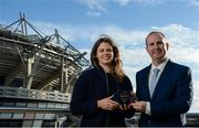 24 November 2017; Noelle Healy of Dublin is presented with The Croke Park Hotel & LGFA Player of the Month Award for September from Alan Smullen, General Manager, Croke Park Hotel, at The Croke Park Hotel in Dublin. Photo by Cody Glenn/Sportsfile