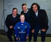 24 November 2017; Leinster's Bryan Byrne, left, Josh van der Flier, centre, and James Lowe with Jennifer Malone, from Clane, Co. Kildare, in Autograph Alley ahead of the Guinness PRO14 Round 9 match between Leinster and Dragons at the RDS Arena in Dublin. Photo by Ramsey Cardy/Sportsfile