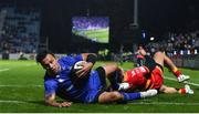 24 November 2017; Isa Nacewa of Leinster scores his side's second trydespite the tackle of Jared Rosser of Dragons during the Guinness PRO14 Round 9 match between Leinster and Dragons at the RDS Arena in Dublin. Photo by Ramsey Cardy/Sportsfile