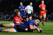 24 November 2017; Max Deegan of Leinster scores his side's fourth try during the Guinness PRO14 Round 9 match between Leinster and Dragons at the RDS Arena in Dublin. Photo by Brendan Moran/Sportsfile