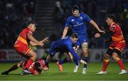24 November 2017; Rory O'Loughlin of Leinster is tackled by Adam Warren of Dragons during the Guinness PRO14 Round 9 match between Leinster and Dragons at the RDS Arena in Dublin. Photo by Brendan Moran/Sportsfile
