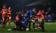 24 November 2017; Jordan Larmour of Leinster supported by Fergus McFadden, on his way to scoring his side's seventh try despite the tackle of Angus O'Brien, left, and Ashton Hewitt of Dragons during the Guinness PRO14 Round 9 match between Leinster and Dragons at the RDS Arena in Dublin. Photo by Ramsey Cardy/Sportsfile