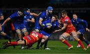 24 November 2017; Cathal Marsh of Leinster is tackled by Connor Edwards, left, and Aaron Wainwright of Dragons during the Guinness PRO14 Round 9 match between Leinster and Dragons at the RDS Arena in Dublin. Photo by Ramsey Cardy/Sportsfile
