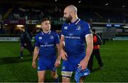 24 November 2017; Jordan Larmour, left, and Scott Fardy of Leinster after the Guinness PRO14 Round 9 match between Leinster and Dragons at the RDS Arena in Dublin. Photo by Brendan Moran/Sportsfile