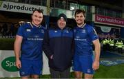 24 November 2017; Former Leinster Rugby Branch President Robert McDermott with Peter Dooley, left, and Conor O'Brien of Leinster after the Guinness PRO14 Round 9 match between Leinster and Dragons at the RDS Arena in Dublin. Photo by Brendan Moran/Sportsfile