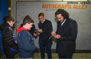 24 November 2017; Leinster players Bryan Byrne, Josh van der Flier and James Lowe with supporters in Autograph Alley ahead of the Guinness PRO14 Round 9 match between Leinster and Dragons at the RDS Arena in Dublin. Photo by Ramsey Cardy/Sportsfile