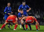24 November 2017; Jordi Murphy of Leinster in action against Lloyd Fairbrother, left, and Ollie Griffiths of Dragons during the Guinness PRO14 Round 9 match between Leinster and Dragons at the RDS Arena in Dublin. Photo by Brendan Moran/Sportsfile