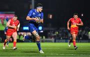 24 November 2017; Max Deegan of Leinster on the way to scoring his side's fourth try during the Guinness PRO14 Round 9 match between Leinster and Dragons at the RDS Arena in Dublin. Photo by Brendan Moran/Sportsfile