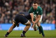 25 November 2017; CJ Stander of Ireland is tackled by Agustin Creevy of Argentina during the Guinness Series International match between Ireland and Argentina at the Aviva Stadium in Dublin. Photo by Piaras Ó Mídheach/Sportsfile