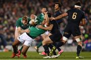 25 November 2017; Bundee Aki of Ireland is tackled by Santiago Gonzalez Iglesias of Argentina during the Guinness Series International match between Ireland and Argentina at the Aviva Stadium in Dublin. Photo by Ramsey Cardy/Sportsfile