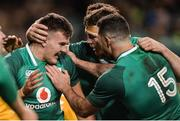 25 November 2017; Jacob Stockdale of Ireland celebrates after scoring his side's first try with teammates Rob Kearney and Peter O'Mahony during the Guinness Series International match between Ireland and Argentina at the Aviva Stadium in Dublin. Photo by Piaras Ó Mídheach/Sportsfile