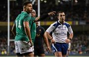 25 November 2017; Referee Mathieu Raynal watches the big screen replay of Argentina's first try scored by Joaquin Tuculet alongside Adam Byrne, left, and Rory Best of Ireland during the Guinness Series International match between Ireland and Argentina at the Aviva Stadium in Dublin. Photo by Piaras Ó Mídheach/Sportsfile