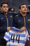 25 November 2017; Santiago Garcia Botta, left, and team captain Agustin Creevy hold a jersey recognising the 44 members of the Argentina Navy that are missing after the disappearance of their submarine ARA San Juan, before the Guinness Series International match between Ireland and Argentina at the Aviva Stadium in Dublin. Photo by Piaras Ó Mídheach/Sportsfile