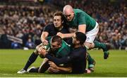 25 November 2017; CJ Stander of Ireland supported by Devin Toner scores his side's third try despite the tackle of Nicolas Sanchez, left, and Jeronimo de la Fuente of Argentina during the Guinness Series International match between Ireland and Argentina at the Aviva Stadium in Dublin. Photo by Ramsey Cardy/Sportsfile
