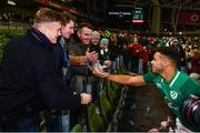 25 November 2017; Adam Byrne of Ireland is congratulated by Leinster teammates Josh van der Flier and Peter Dooley following the Guinness Series International match between Ireland and Argentina at the Aviva Stadium in Dublin. Photo by Ramsey Cardy/Sportsfile