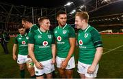 25 November 2017; Ireland's Andrew Conway, left, Adam Byrne, centre, and James Tracy following the Guinness Series International match between Ireland and Argentina at the Aviva Stadium in Dublin. Photo by Ramsey Cardy/Sportsfile