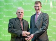 25 November 2017; Dan Curtin, Kanturk Cycling Club, left, receives the Club Coach of The Year award from Geoff Liffey, CEO of Cycling Ireland, during the Cycling Ireland Awards at the Crowne Plaza Hotel, Dublin. Photo by Stephen McMahon/Sportsfile