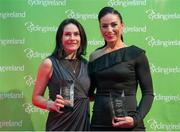 25 November 2017; Katie-George Dunlevy, left, and Eve McCrystal, receive a Special Recognition award during the Cycling Ireland Awards at the Crowne Plaza Hotel, Dublin. Photo by Stephen McMahon/Sportsfile