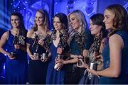 25 November 2017; Dublin team-mates, from left, Leah Caffrey, Rachel Ruddy, Noelle Healy, Nicole Owens, Sinéad Aherne, and Ciara Trant, with their All-Star Awards during the TG4 Ladies Football All-Star Awards at the CityWest Hotel in Saggart, Co Dublin. Photo by Cody Glenn/Sportsfile