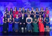 25 November 2017; The 2017 Ladies Football TG4 All Star team, back row, from left, Ciara Hegarty of Donegal, Niamh Hegarty of Donegal, Aimee Mackin of Armagh, Aileen Gilroy of Mayo, Nicole Owens of Dublin, Sinéad Aherne of Dublin, Cora Staunton of Mayo, Noelle Healy of Dublin, Rachel Ruddy of Dublin and Caroline Kelly of Kerry with, front, from left, Lorraine Scanlon of Kerry, Leah Caffrey of Dublin, Helen O'Rourke, CEO, LGFA, Ard Stiúrthóir TG4, Alan Esslemont, President of LGFA Marie Hickey, Sarah Tierney of Mayo, Emma Spillane of Cork and Ciara Trant of Dublin during the TG4 Ladies Football All-Star Awards at the CityWest Hotel in Saggart, Co Dublin. Photo by Brendan Moran/Sportsfile