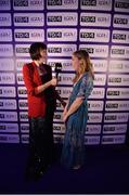 25 November 2017; Sinead Finnegan of Dublin is interviewed by Gráinne McElwain, host of 'LIVE from the Red Carpet,' during the TG4 Ladies Football All-Star Awards at the CityWest Hotel in Saggart, Co Dublin. Photo by Cody Glenn/Sportsfile