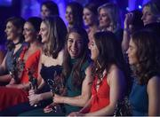 25 November 2017; Sarah Tierney of Mayo, third from right, shares a laugh with Emma Spillane of Cork, second from right, on stage after being named All-Stars during the TG4 Ladies Football All-Star Awards at the CityWest Hotel in Saggart, Co Dublin. Photo by Cody Glenn/Sportsfile