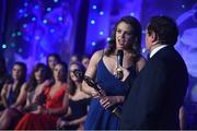 25 November 2017; Senior Players' Player of the Year Noelle Healy of Dublin interviewed by Marty Morrissey  during the TG4 Ladies Football All-Star Awards at the CityWest Hotel in Saggart, Co Dublin. Photo by Cody Glenn/Sportsfile