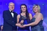 25 November 2017; Leah Caffrey of Dublin is presented with her TG4 All Star award by Ard Stiúrthóir TG4, Alan Esslemont and President of LGFA Marie Hickey during the TG4 Ladies Football All-Star Awards at the CityWest Hotel in Saggart, Co Dublin. Photo by Brendan Moran/Sportsfile