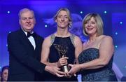 25 November 2017; Cora Staunton of Mayo is presented with her TG4 All Star award by Ard Stiúrthóir TG4, Alan Esslemont and President of LGFA Marie Hickey during the TG4 Ladies Football All-Star Awards at the CityWest Hotel in Saggart, Co Dublin. Photo by Brendan Moran/Sportsfile
