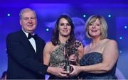 25 November 2017; Sinéad Aherne of Dublin is presented with her TG4 All Star award by Ard Stiúrthóir TG4, Alan Esslemont and President of LGFA Marie Hickey during the TG4 Ladies Football All-Star Awards at the CityWest Hotel in Saggart, Co Dublin. Photo by Brendan Moran/Sportsfile