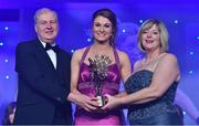 25 November 2017; Aileen Gilroy of Mayo is presented with her TG4 All Star award by Ard Stiúrthóir TG4, Alan Esslemont and President of LGFA Marie Hickey during the TG4 Ladies Football All-Star Awards at the CityWest Hotel in Saggart, Co Dublin. Photo by Brendan Moran/Sportsfile