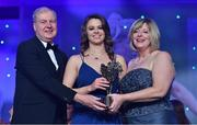 25 November 2017; Noelle Healy of Dublin is presented with her TG4 All Star award by Ard Stiúrthóir TG4, Alan Esslemont and President of LGFA Marie Hickey during the TG4 Ladies Football All-Star Awards at the CityWest Hotel in Saggart, Co Dublin. Photo by Brendan Moran/Sportsfile