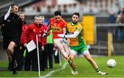 26 November 2017; James Durkan of Castlebar Mitchels is tackled by Micheál Lundy of Corofin during the AIB Connacht GAA Football Senior Club Championship Final match between Corofin and Castlebar Mitchels at Tuam Stadium in Tuam, Galway. Photo by Ramsey Cardy/Sportsfile
