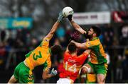 26 November 2017; Kieran Fitzgerald, left, and Micheál Lundy of Corofin in action against Neil Douglas of Castlebar Mitchels during the AIB Connacht GAA Football Senior Club Championship Final match between Corofin and Castlebar Mitchels at Tuam Stadium in Tuam, Galway. Photo by Ramsey Cardy/Sportsfile