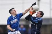 26 November 2017; Ronan O'Toole of St Loman's Mullingar knocks the ball out of the hands of Simonstown goalkeeper Robbie Burlingham before the ball went wide during the AIB Leinster GAA Football Senior Club Championship Semi-Final match between St Loman's Mullingar and Simonstown at TEG Cusack Park in Mullingar, Co Westmeath. Photo by Piaras Ó Mídheach/Sportsfile