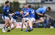 26 November 2017; Shane O'Rourke of Simonstown Gaels gets past John Heslin of St Loman's Mullingar during the AIB Leinster GAA Football Senior Club Championship Semi-Final match between St Loman's Mullingar and Simonstown at TEG Cusack Park in Mullingar, Co Westmeath. Photo by Piaras Ó Mídheach/Sportsfile